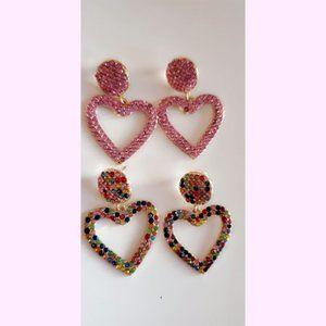 Jewelry - 2 Pairs of Rhinestone Rainbow Pink Heart Earrings!